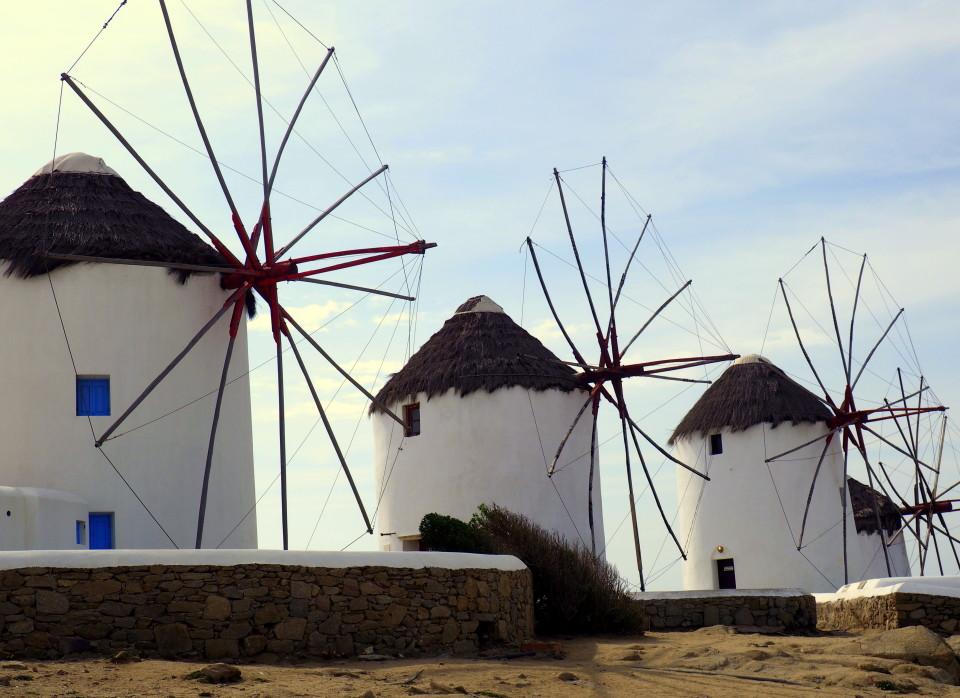 Mykonos-Altstadt-Chora-Windmühlen